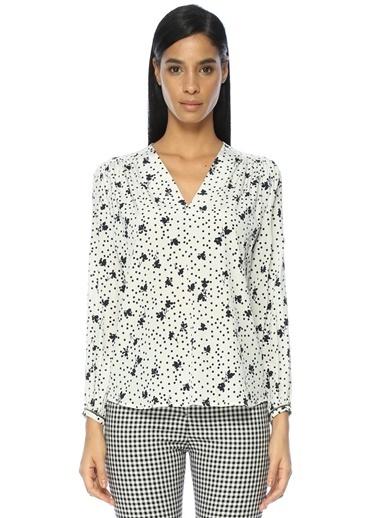 Beymen Collection V Yaka Çiçekli Bluz Beyaz